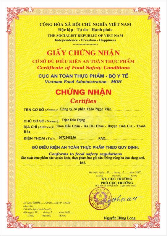 Chứng nhận an toàn vệ sinh thực phẩm của Thảo Ngọc Việt